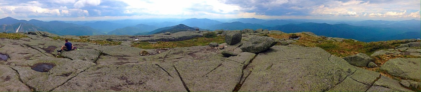 A panoramic shot from the summit of Algonquin Peak.