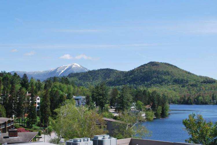 View of Mirror Lake and the High Peaks from our hotel room balcony.