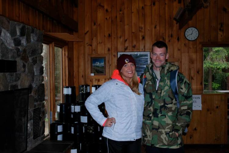 Posing in the Adirondack Loj before starting our hike.