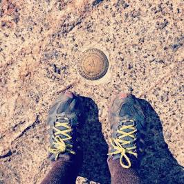 Survey marker at the summit of Cascade Mountain.