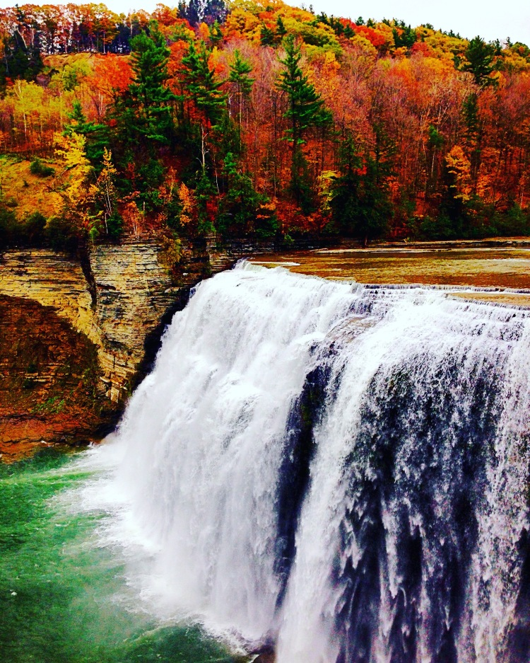 Middle Falls at Letchworth State Park in the Fall.