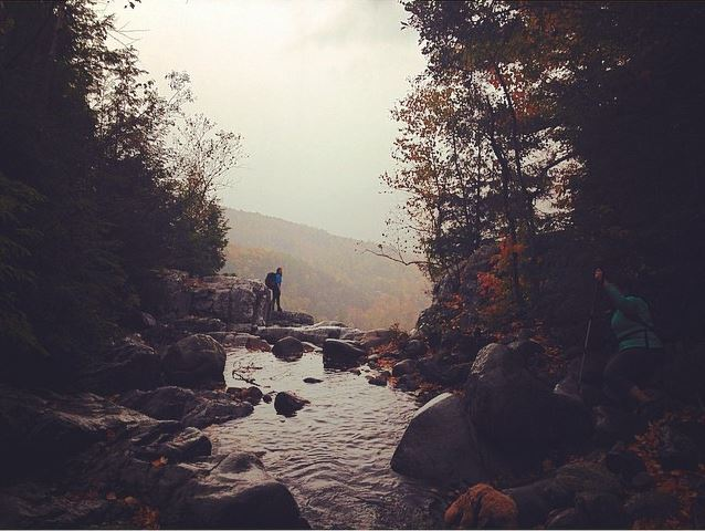 Exploring the top of Roaring Brook Falls.